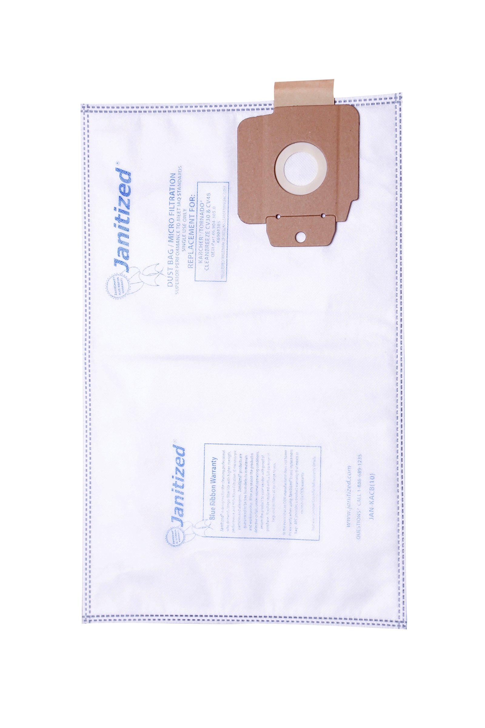 Janitized JAN-KACB(10) Premium Replacement Commercial Vacuum Paper Bag for Karcher/Tornado, CleanBreeze Vacuum Cleaners, OEM#6.904-305.0, K6904305 (Pack of 10)