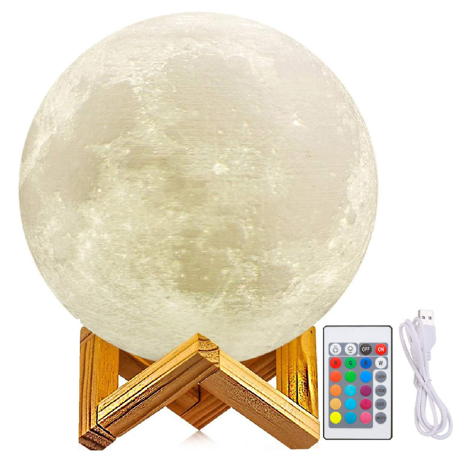 Diameter 6 Inch Moon Light Lamps, 3D Printed Moon Lamp with Stand, The Moon Light with LED Warm White 3000K and Warm Yellow 3000K, Touch Control (6inch——11Inch) zhong guang mei da EML-06