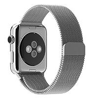 JETech Correa Reemplazable para Apple Watch 44mm y 42mm Series 1 2 3 4, Cerradura Magnética, Acero Inoxidable, Plateado