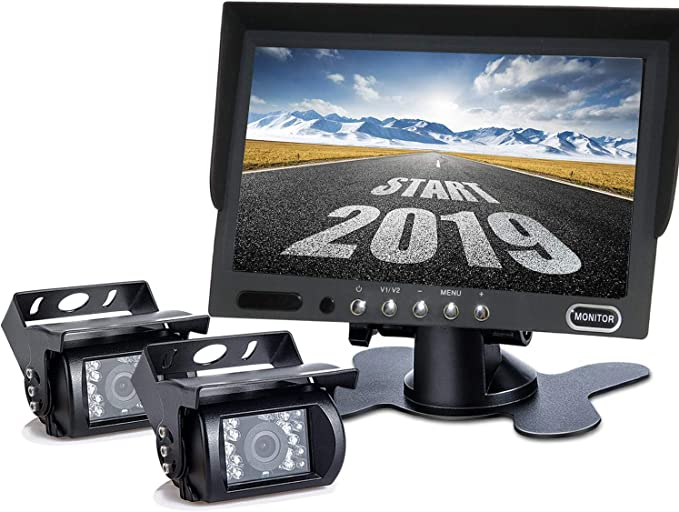 """7/"""" Monitor+2 X Rear View Backup Camera Wired Night Vision Kit For RV Truck Bus"""