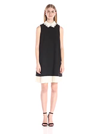 Nanette Nanette Lepore Women's Sleeveless Pleat-Hem Shift Dress, Very Black/credence  Cream