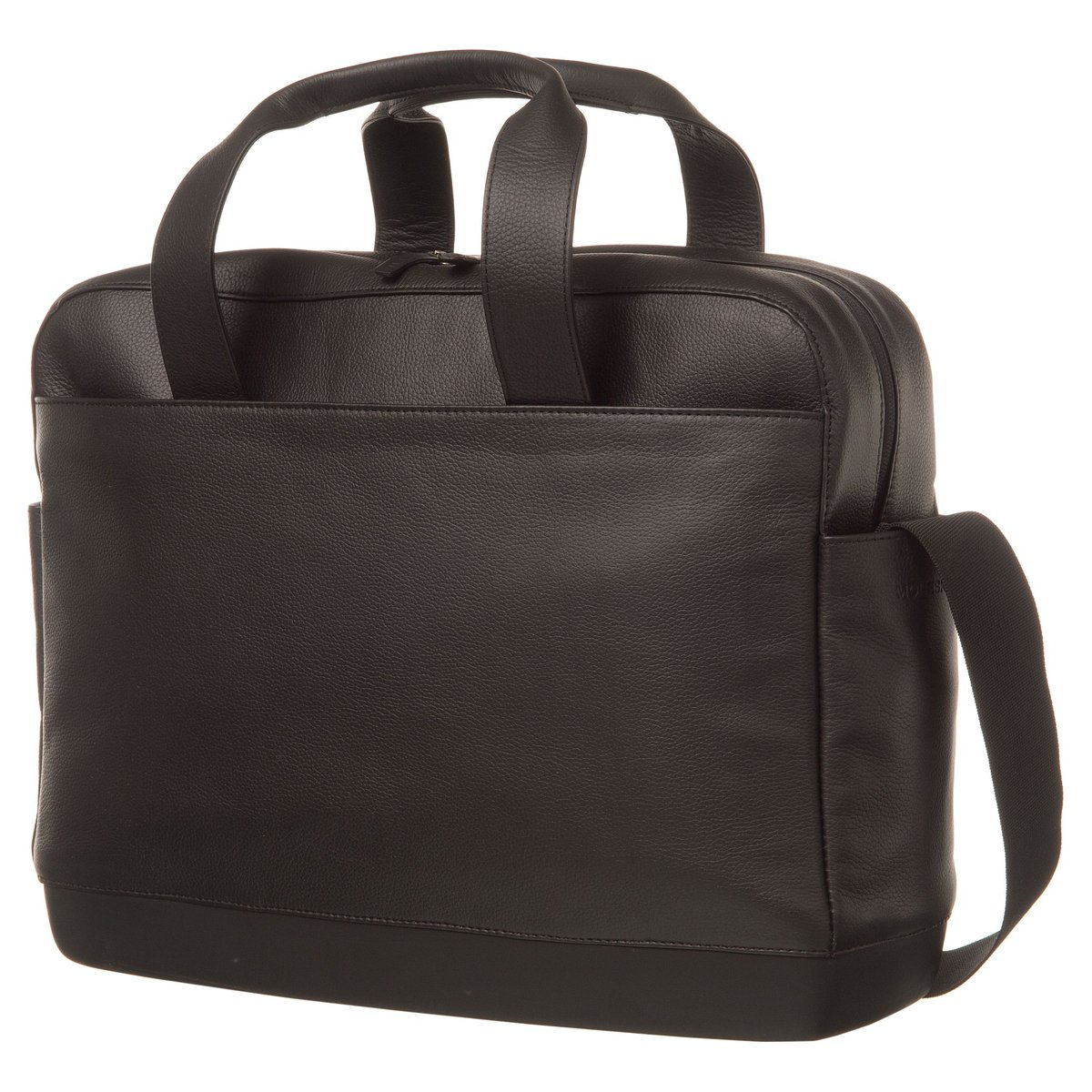 Moleskine Classic Leather Utility Bag, Black, For Work, School, Travel, and Everyday Use, Space for Tablet Laptop and Chargers, Notebook Planner or Organizer, Padded Adjustable Straps, Secure Zipper by Moleskine (Image #1)