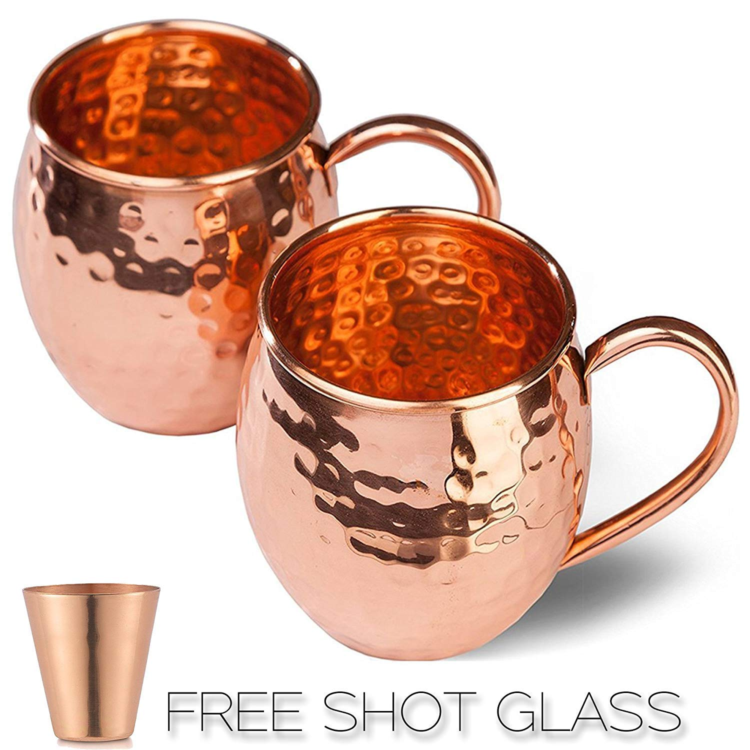 Moscow Mule Copper Mugs GiftBox - 100% Pure Copper Hand Crafted Hand Hammered Copper Mugs Cups for Moscow Mule Cocktail Drink - Set of 2 Copper Mugs with SHOT GLASS