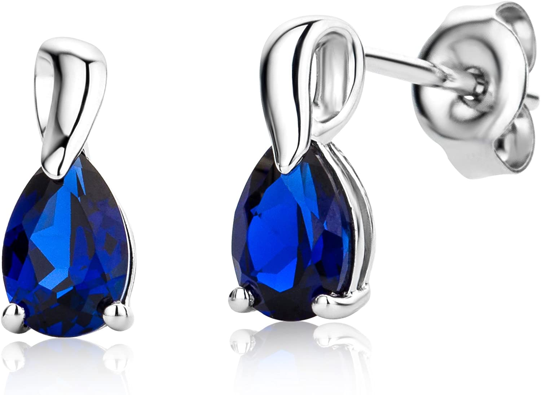 MIORE MG9229E - Pendientes para mujer, oro blanco 375, zafiro azul, talla de gota