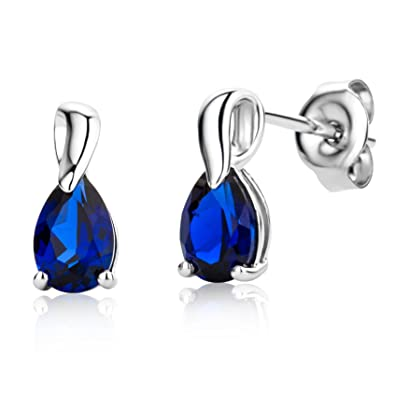 halo mk silver diamond round in and blue earrings sapphire saphire sterling