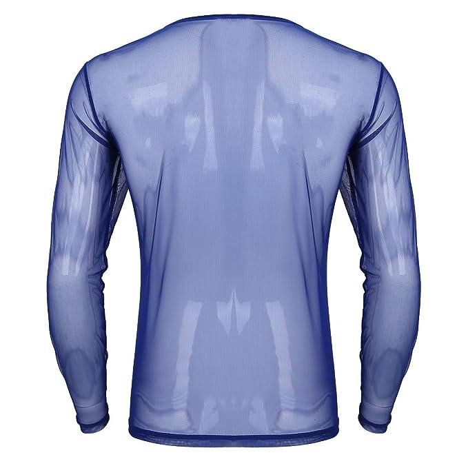 iiniim Herren Langarm Shirt Transparent Mesh Slim Fit T-Shirt Männer Tops  Reizvoll Party Club Shirt Unterwäsche M-XL  Amazon.de  Bekleidung f3d5a0421e