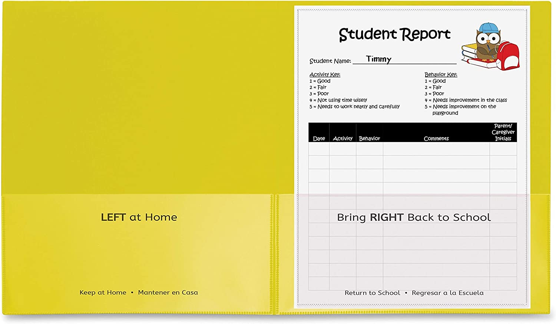 "C-Line, Classroom Connector School-to-Home Folders, Letter, 8 1/2"" x 11"" Sheet Size, 2 Internal Pockets, Polypropylene, Yellow, 25/Box"