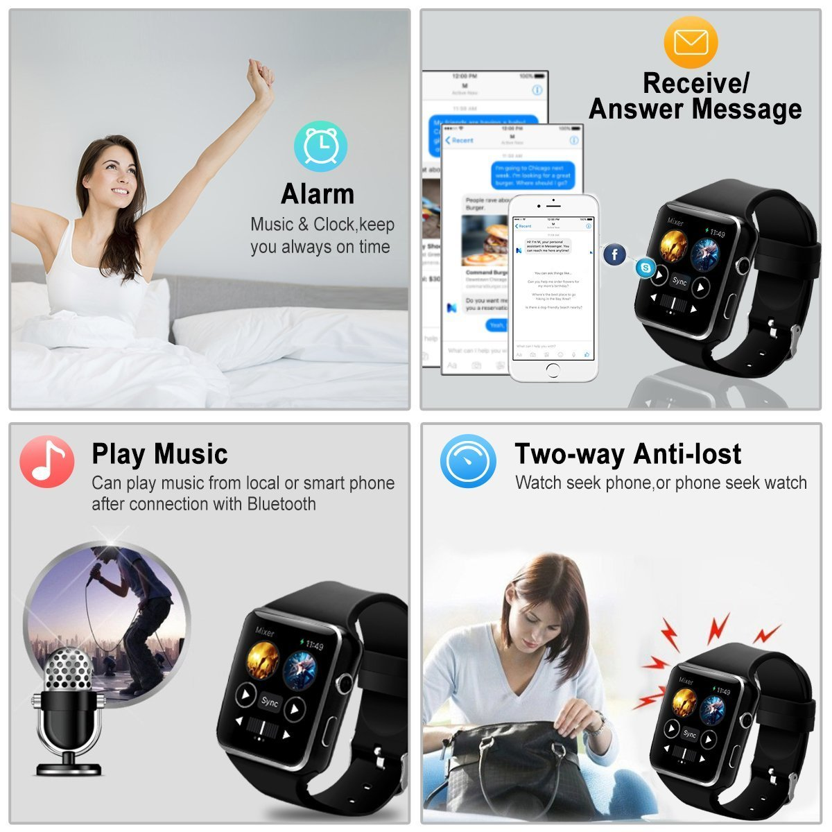 Smart Watch,Bluetooth Smartwatch Touch Screen Wrist Watch with Camera/SIM  Card Slot,Waterproof Smart Watch Sports Fitness Tracker Android Phone Watch