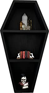 Rory's Creative Designs Coffin Shelf - Solid Pine Wood Black Floating Wall Shelves for Home Bedroom Living Room Bathroom - Spooky Gothic Decor for Witchy Horror Crystal Display - 15