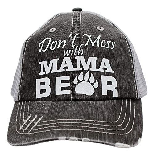 208eb8c4b50 Image Unavailable. Image not available for. Color  Don t Mess with Mama Bear  Glitter Women s Trucker Hats ...