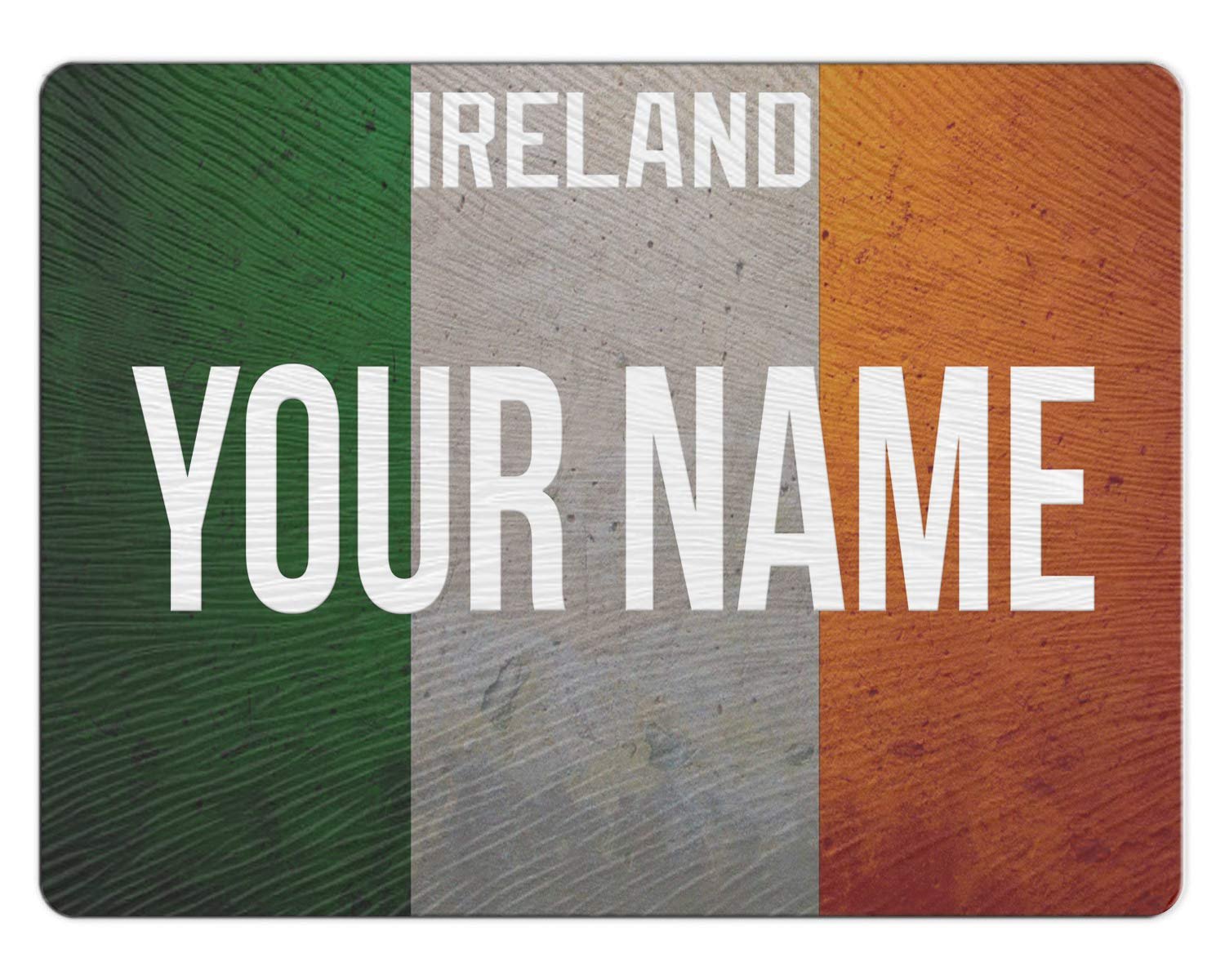 BRGiftShop Personalized Custom License Ireland Country Flag Plate 11x15 Glass Cutting Board