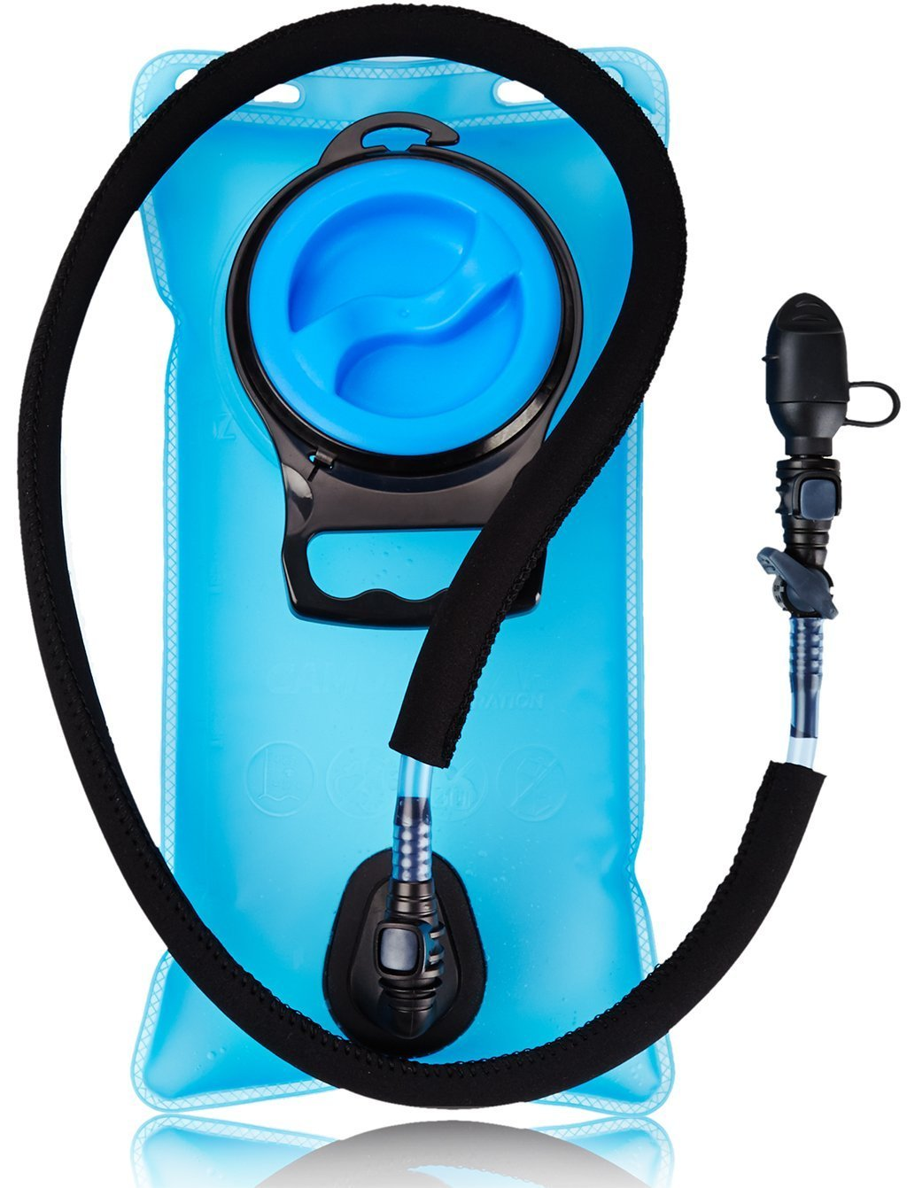 Camden Gear 2L Hydration Bladder, Water Reservoir for Hydration Pack, 2 Liter Backpack with Insulated Mouth Tube Valve Water Bag