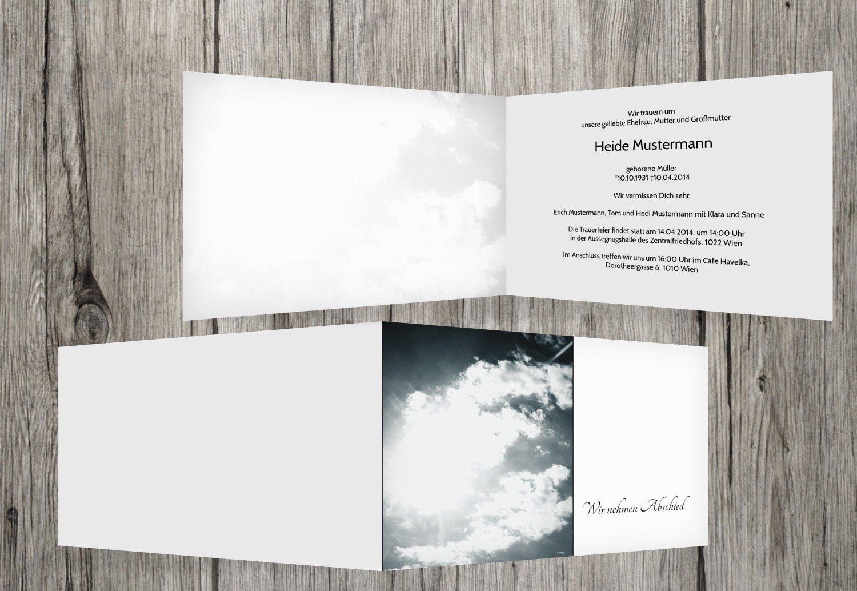 Tarjeta de luto Nubes, Weiszlig;, 40 Karten