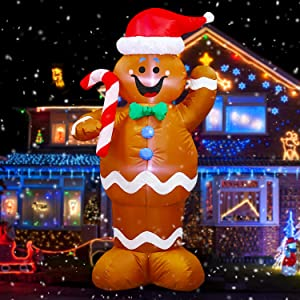 WOJOY 5 Ft Christmas Inflatables Gingerbread Man with Candy Blow Up Yard Decorations with Build-in LEDs Lights for Indoor Outdoor Yard Lawn Garden Home Party Holiday Decor