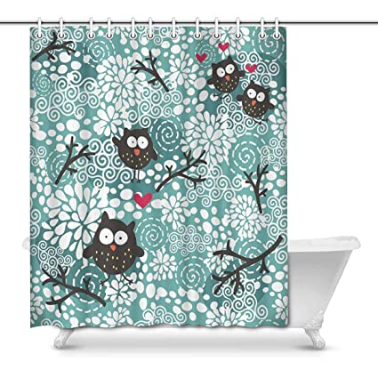 Image Unavailable Not Available For Color INTERESTPRINT Cute Owl Fabric Shower Curtain