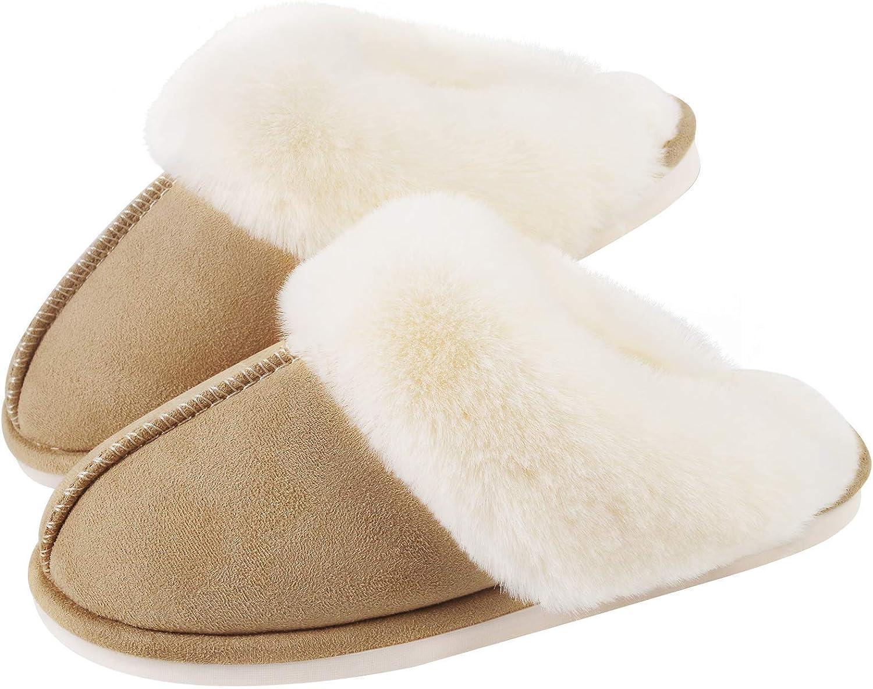 Seranoma Womens Knit Faux Fur Slip On Slippers w//Cushioned Antislip TPR Sole