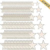 Globaldream Tamaño Mixto Estrellas de Madera 210 piezas