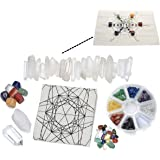 Top Plaza 7 Chakra Healing Crystal Grids Kit /Lot of 7 Chakra Tumbles, Assorted Chip Gemstones, Clear Quartz Crystal Wands Points Sticks, Metatron's Cube Sacred Geometry Crystal Grids Altar Cloth