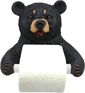 """Ebros Whimsical Black Bear Toilet Paper Holder Bathroom Wall Decoration 8.25"""" Tall Rustic Cabin Lodge Country Home Guest Powder Room Accent"""