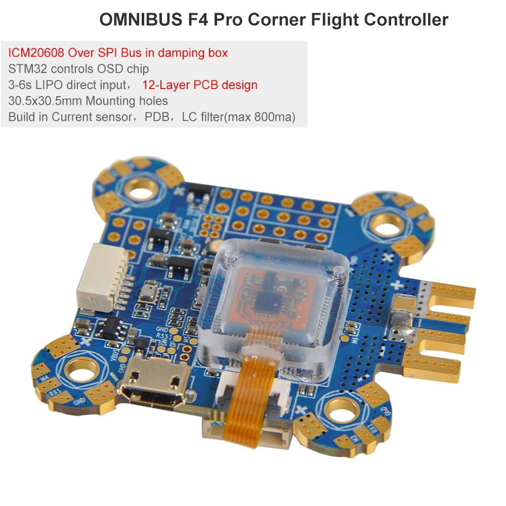 OMNIBUS F4 Pro Corner Flight Controller FC ntegrated In OSD (ICM20608 over SPI, Onboard Damping Box,Built In Currenet Sensor, PDB BEC , LC Filter and Supports 3-6s Lipo Battery )