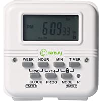 Century 7 Day Heavy Duty Digital Programmable Dual Outlet Timer - 2 Independently Programmable Grounded Outlets