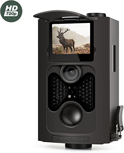 Amcrest 720P HD Game and Trail Camera – 8MP Dynamic Capture, Integrated 2 LCD Screen, High-Sensitivity Motion Detection with Long Range Infrared LED Night Vision up to 65ft ATC-802