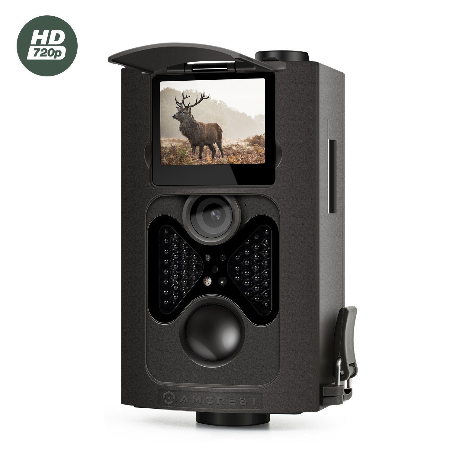 Amcrest 720P HD Game and Trail Camera - 8MP Dynamic Capture, Integrated 2'' LCD Screen, High-Sensitivity Motion Detection with Long Range Infrared LED Night Vision up to 65ft (ATC-802)