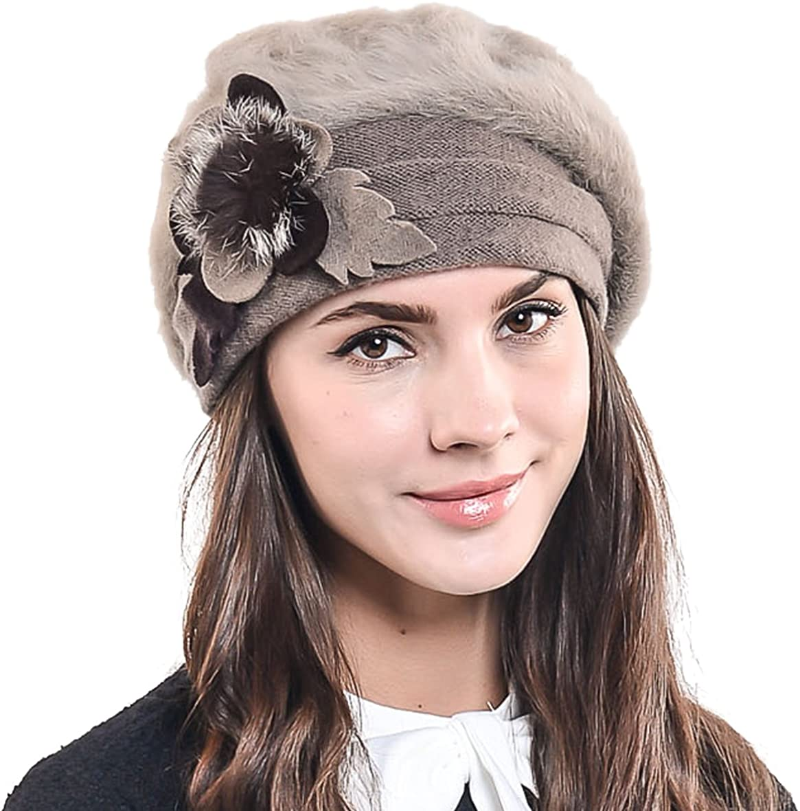 F&N STORY Lady French Beret Wool Beret Chic Beanie Winter Hat Jf-br034 (BR022-Brown Angora) at  Women's Clothing store