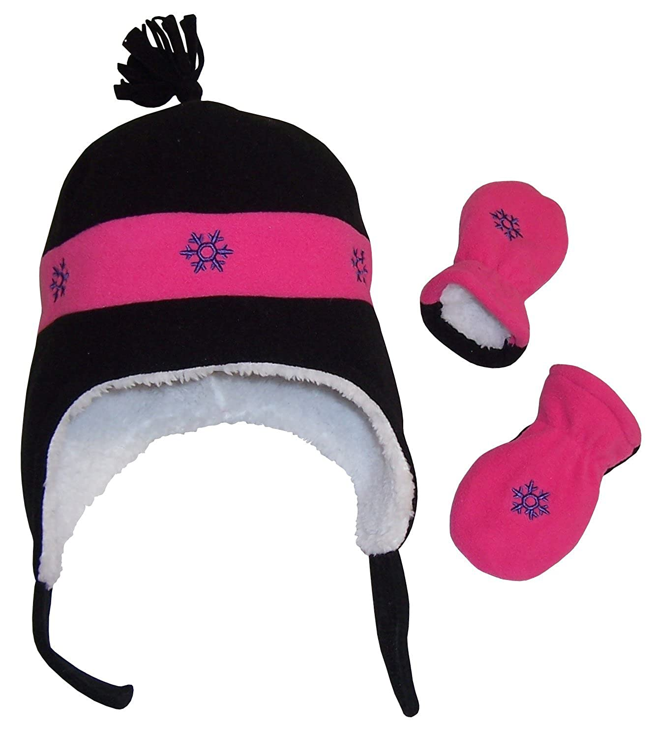 N'Ice Caps Little Girls and Baby Snow Embroidered Fleece Hat and Mitten Set 2774