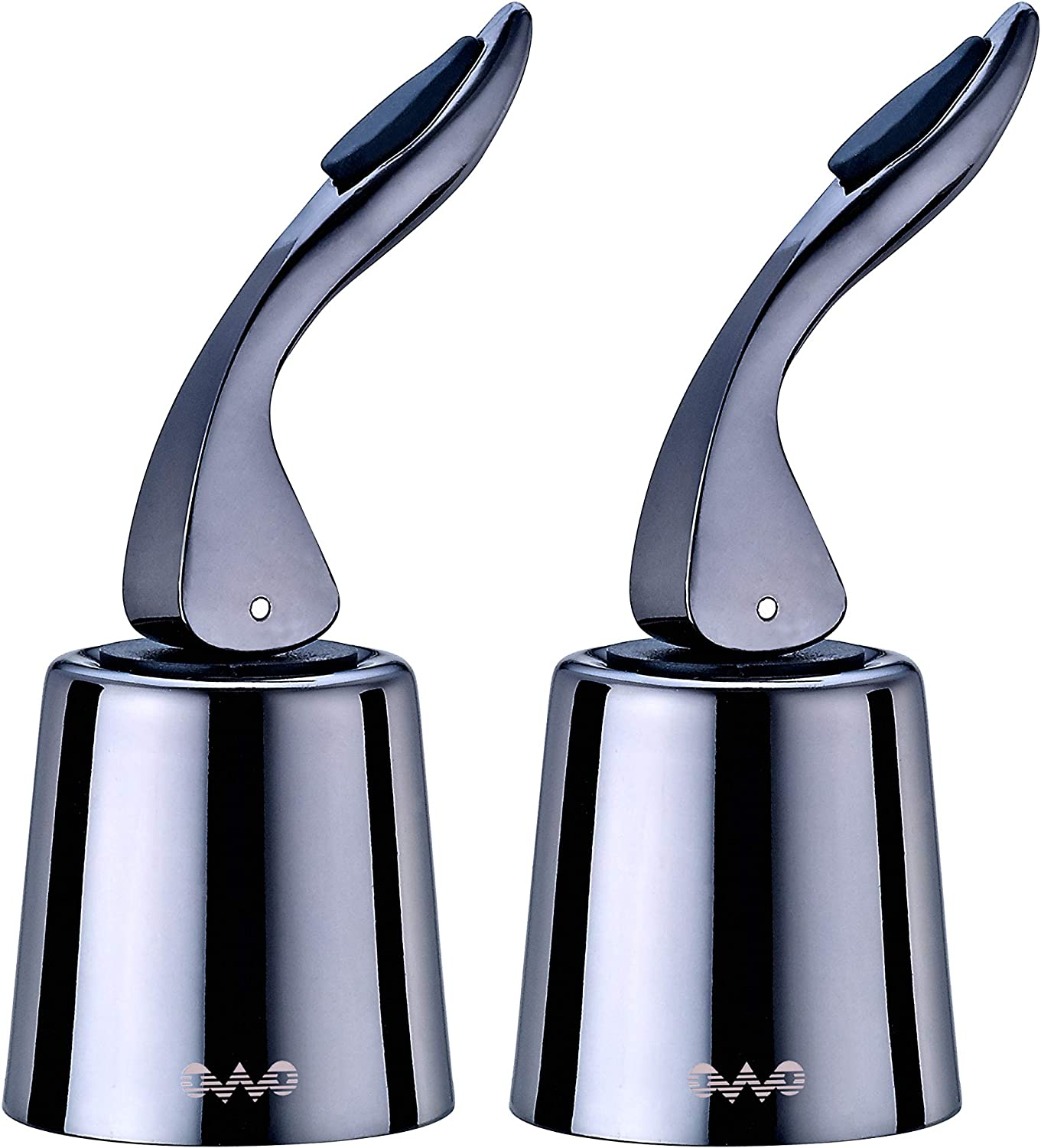 OWO Wine Stopper with Stainless Steel, Wine Preserver, Decorative Wine Saver Plug with Silicone, Expanding Beverage Bottle Stopper, Reusable Wine Cork Keeps Wine Fresh (Metal Black-2)