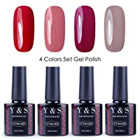 Vernis Gel Semi Permanent - Y&S UV LED Vernis à Ongles Gel Soak Off Nail Polish Kit 4 Couleurs x 10ml, Lot J'adore