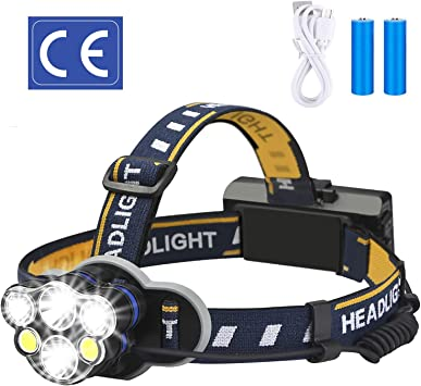 XPE 2COB LED Rechargable Headlamp Zoomable Waterproof with Cable Torch Camping