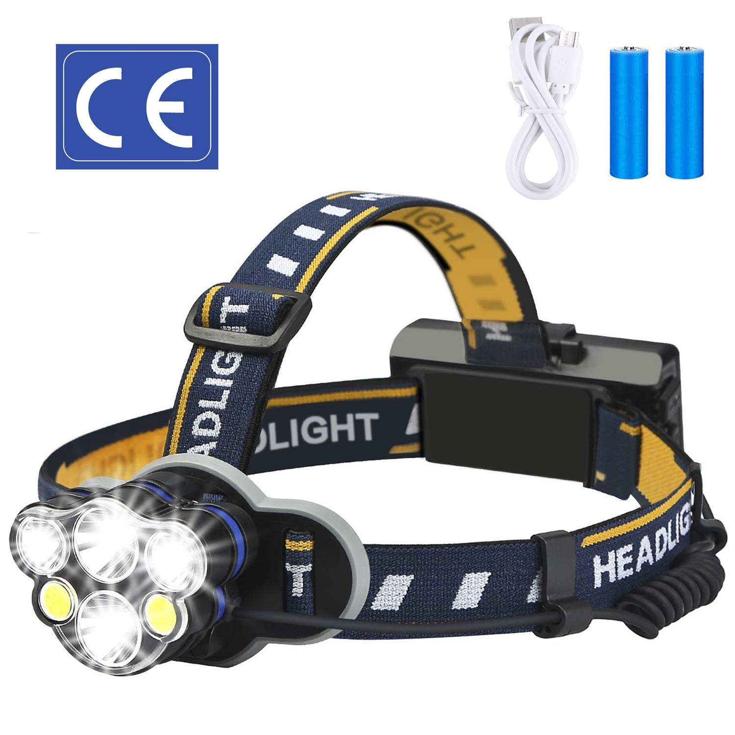 ELMCHEE Rechargeable headlamp, 12000 Lumen 6 LED 8 Modes 18650 USB Rechargeable Waterproof Flashlight Head Lights for Camping, Hiking, Outdoors by ELMCHEE