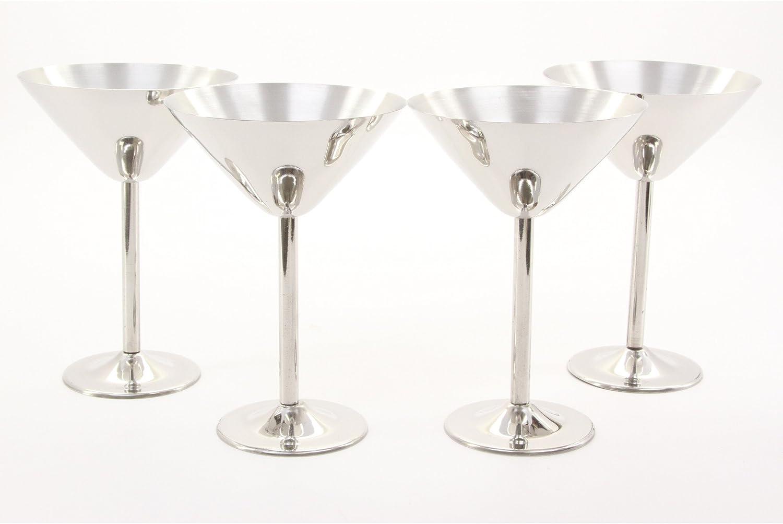 Amazon Com Stainless Steel Martini Glasses Set Of 4 Martini Glasses