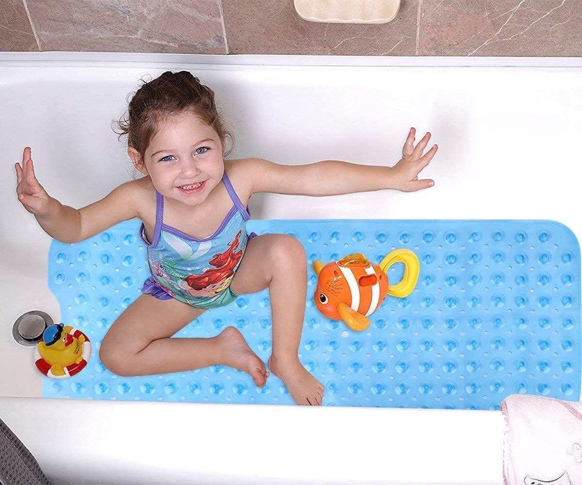 Badewannenmatte rutschfest f/ür Badezimmer 100 x 40cm Blue Ideal f/ür Kinder Kleinkind Senior Wimaha XL Badematte Maschinenwaschbar
