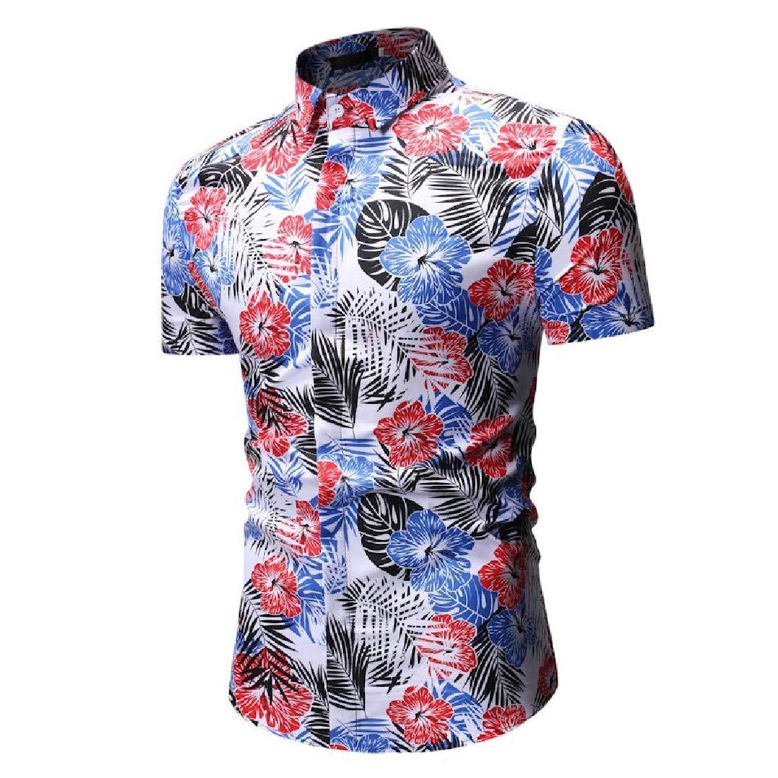 Men Short-Sleeve Square Neck Flower Leaf Standard-Fit Shirt