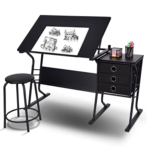 Costway Drawing Table Tiltable Tabletop Craft Art Drafting 3 Drawers Desk  W/PU Stool