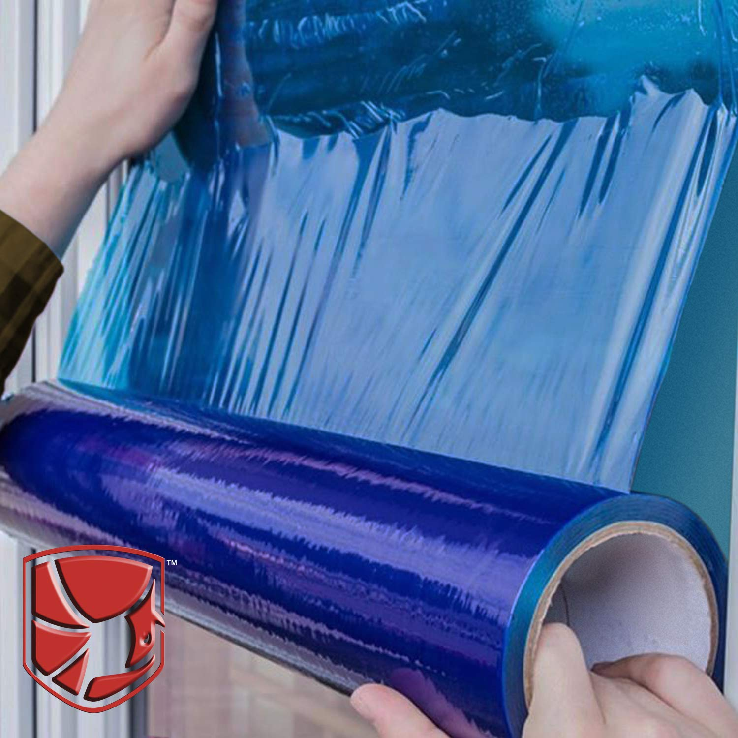 "Protective Film for Window Glass, Blue Window Shield Adhesive Film, Window Masking Film with 45 Day UV Protection. 21""x 600 feet Poly Window Protection Film with Utility Knife."