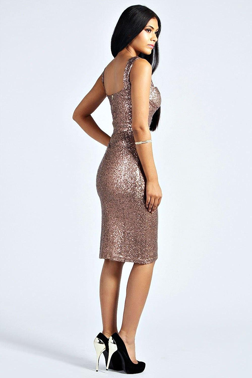 Black Womens Kimmie Sequin Fitted Cups Midi Dress