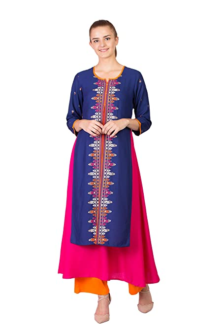 Women Straight Kurti Top Tunic high-Low Print
