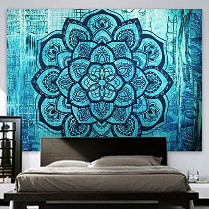 cea0f1e8eaad Indian Hippie Tapestry Mandala Wall Hanging Blue Lotus Bohemian Decor  Psychedelic Intricate Floral Flower Wall Decor Beach Throw Bedspread  Tapestries ...