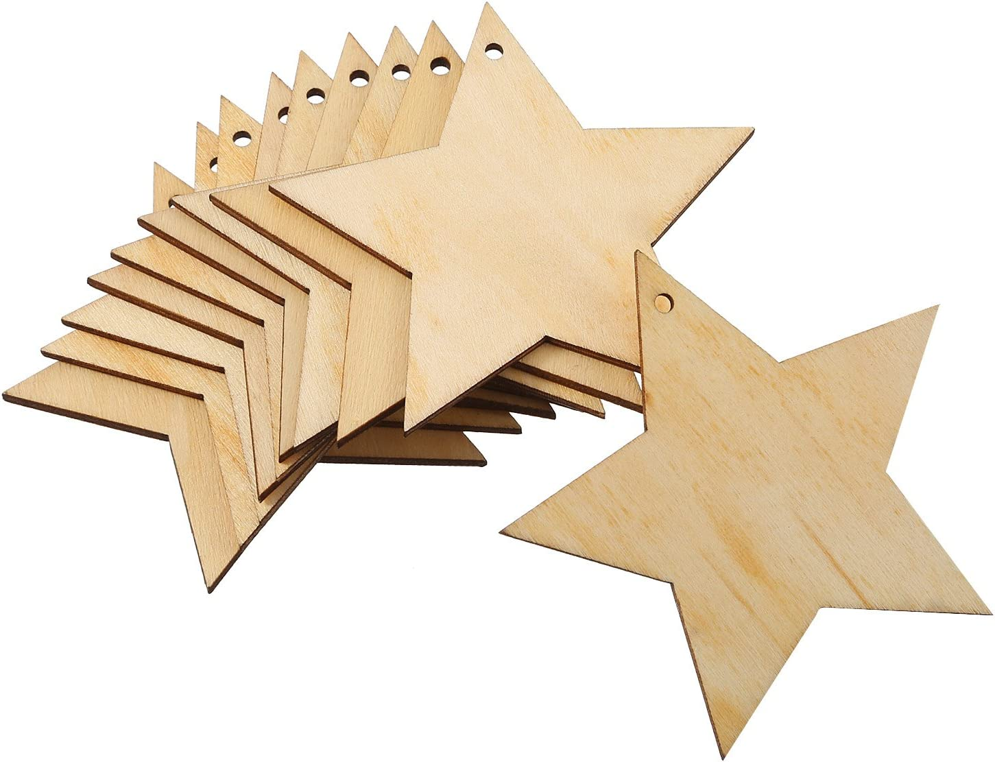Embellishments Pangda 20 Packs Wooden Star Cutouts Hanging Ornaments with 20 Packs Strings for Wedding Festival DIY Craft Decoration