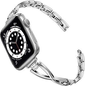 TRUMiRR Women Band for Apple Watch Series 6 / SE 40mm 38mm, Slim X-Link Stainless Steel & Rhinestone Diamond Watchband Feminine Jewelry Strap for iWatch Apple Watch SE Series 6 5 4 3 2 1 40mm 38mm