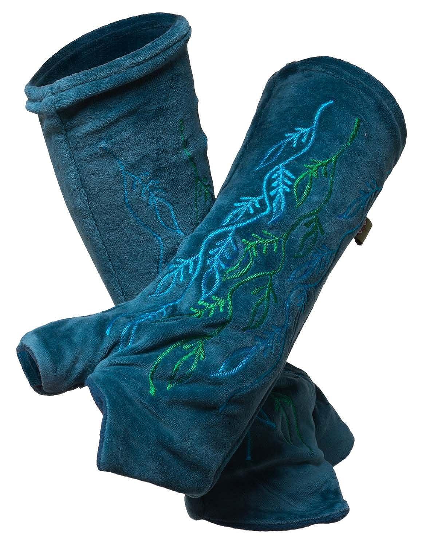 Vishes - alternative Bekleidung - bestickte Handstulpen aus Samt A-870/br