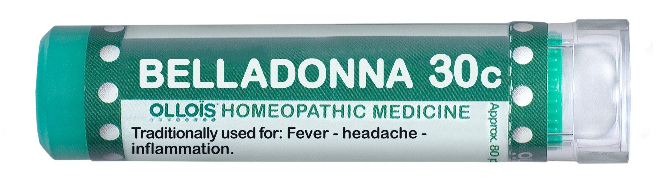 Ollois  Lactose Free Homeopathic Medicines, Belladonna 30C Pellets, 80 Count
