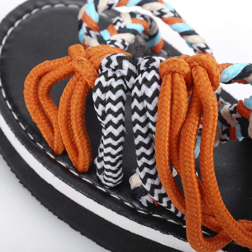 Lurryly Women Summer Fashion Rome Bandage Sandals Peep Toe Casual Flat Beach Sandals