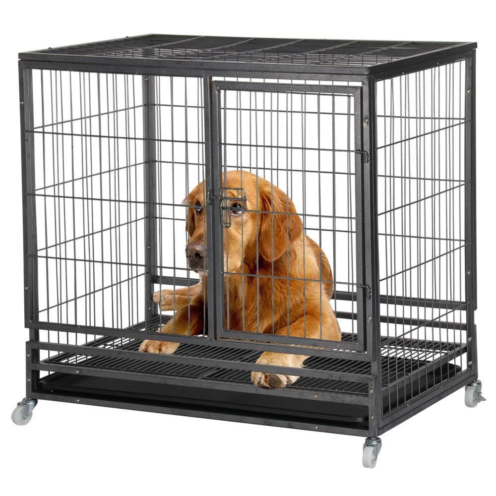 Yaheetech 37'' Heavy Duty Dog Puppy Pet Cage Crates Kennel House Black