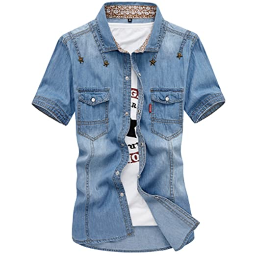 Review Rising ON Shirts Men's Leisure Fashion Short Sleeve Shirt Men's Single Breasted 100% Cotton Denim Shirts Men
