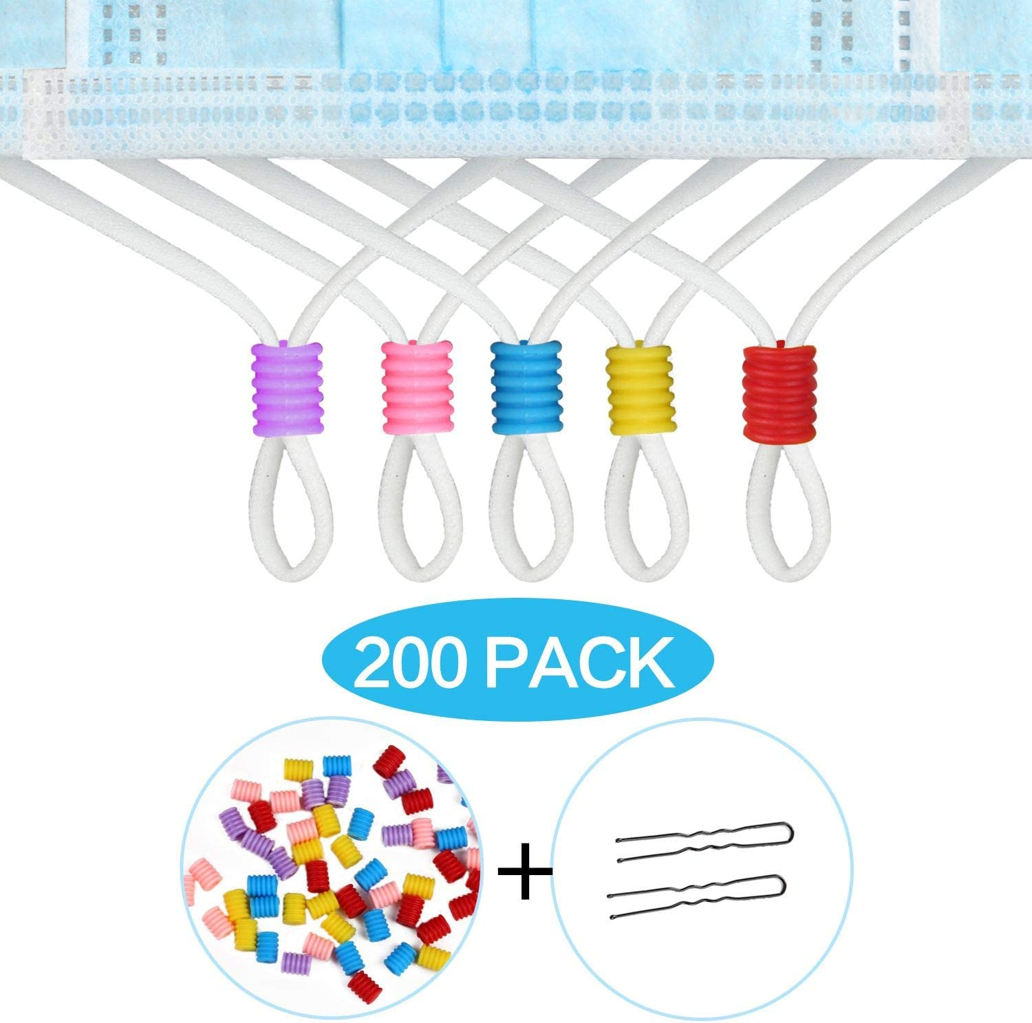 Black, 200 Pack Elastic Toggles Non Slip Stopper with Stringing Tools HOTYELL 200 Pcs Cord Locks Silicone Cord Rope Adjuster for Drawstrings