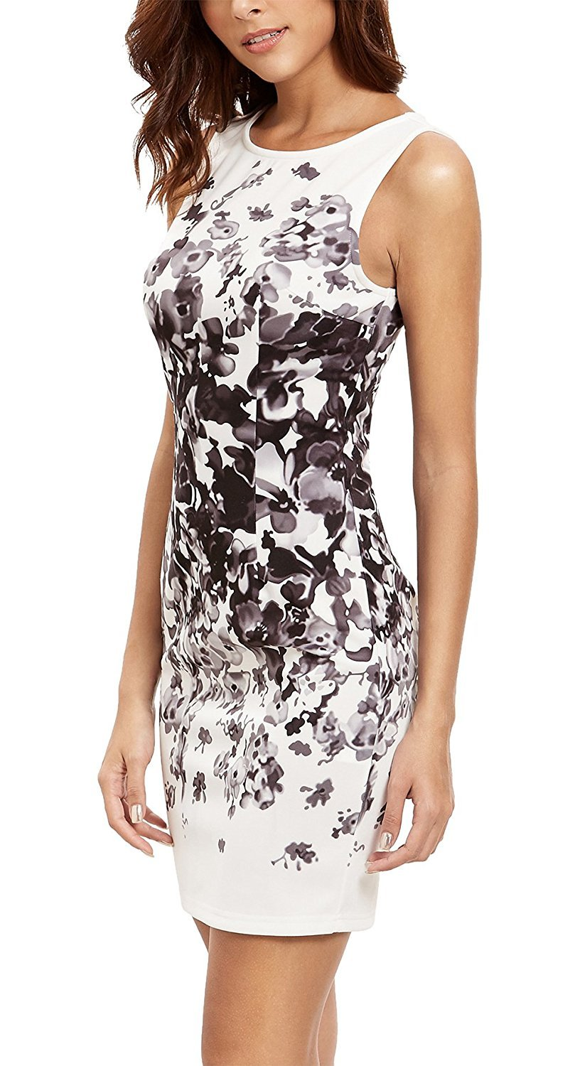 Floerns Women's Floral Print Sleeveless Sexy Bodycon Cocktail Party Round Neck Summer Dresses White Black Flower M